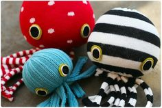 Socktopuses: Take a sock, stuff with fabric or plastic bags. Sew shut. Cut bottom of sock into legs.