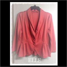 ELLE 3/4 Sleeve Ruffle Blazer - Coral ELLE 3/4 Sleeve Ruffle Blazer. Color: Coral. Size: L. Material: 76% Polyester, 20% Rayon, 4 % Spandex. Care: Dry Clean. Two button closure, ruffling around waistline kind of peplum style. Mid weight. Condition: Like new. Please note the last pic was used to show it on, it is not the physical blazer it was pulled from online however it is the same blazer just in red. Elle Jackets & Coats Blazers