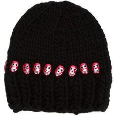 Aurelie Bidermann Skull Embellished Beanie ($253) ❤ liked on Polyvore featuring accessories, hats, black, skull beanie, woolen hat, beanie caps, skull hat and embellished hats
