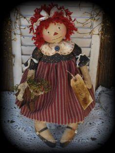 Primitive Olde Folk Art Americana Raggedy Ann Doll with Rusty Star   eBay