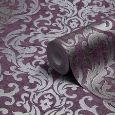 Graham & Brown Drama Purple Damask Metallic Wallpaper - B&Q for all your home and garden supplies and advice on all the latest DIY trends Metallic Wallpaper, Damask Wallpaper, Wallpaper Decor, Purple Wallpaper, Bedroom Wallpaper, Office Wallpaper, Wallpaper Desktop, Wallpaper Quotes, Wallpaper Backgrounds