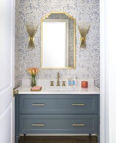This powder room by is absolutely stunning! What an amazing blues + wallpaper combo. Glad we were featured in this… This powder room by is absolutely stunning! What an amazing blues + wallpaper combo. Glad we were featured in this… Blue Powder Rooms, Modern Powder Rooms, Powder Room Decor, Powder Room Design, Modern Room, Coastal Powder Room, Powder Room Vanity, Powder Room Wallpaper, Bathroom Wallpaper