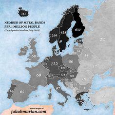 ¿Dónde se encuentran la mayoría de las bandas de metal?