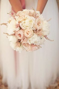 Photo: Loove Photography via French Wedding Style; Glamorous Blush Wedding Ideas to Inspire - blush bridal bouquet; Loove Photography via French Wedding Style Pink And White Weddings, White Wedding Bouquets, Bride Bouquets, Floral Wedding, Bouquet Wedding, Wedding Dresses, Bridesmaid Bouquets, Bridesmaids, Wedding Pastel