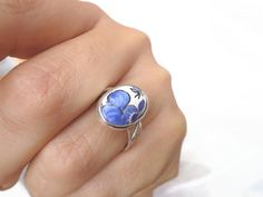 Shabby blue flowers ring, a cute and delicate little ring for those who love small rings. Sterling little ring with a handmade faience cabochon.