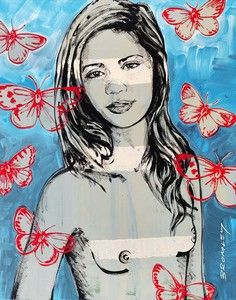 """DAVID BROMLEY Nude """"Jana With Butterflies"""" Signed Limited Edition Print, Image Size: 70cm x 55cm, Sheet Size: 70cm x 55cm, Embossed Seal: Lower Left - David Bromley Limited Edition"""