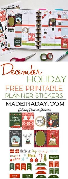 December Holiday FREE Printable Planner Stickers! Ugly Sweater, fruitcake, truck & tree, snow globe stickers for Christmas Happy Planner via @MadeinaDay.com Printable Planner Stickers, Christmas Stickers Printable, Christmas Printables, Free Printables, Planner Layout, Planner Ideas, Free Planner, Mini Happy Planner, Holiday Planner