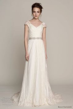 kelly faetanini wedding dresses spring 2014 madeline cap sleeve gown surplice