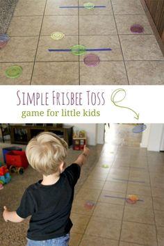 Make a simple Frisbee toss game for little kids - fantastic gross motor activity!