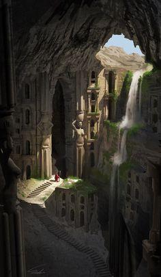 25 Ideas Fantasy Landscape Illustration Waterfalls For 2019 Fantasy City, Fantasy Places, Fantasy Kunst, Fantasy World, Environment Concept, Environment Design, Creation Art, Fantasy Setting, Fantasy Landscape