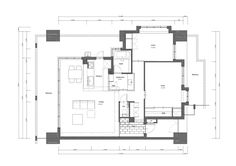 Nionohama Apartment House Renovation - ALTS Design Office - Japan - Floor Plan - Humble Homes Shiga, Custom Floating Shelves, Office Floor Plan, Japanese Apartment, Japan Interior, Open Living Area, Loft Studio, Contemporary Apartment, Small Apartments