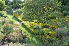 """Perennials and ornamental grasses are planted in """"communities"""" and repeated for a rhythmic yet naturalistic effect at Hermannshof Botanical Garden in Weinheim, Germany."""