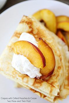 Crepes with Grilled Peaches & Cream Recipe on twopeasandtheirpod.com ~ Perfect summer treat!