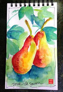 PEARS | watercolor sketch | Valerie Weller | Flickr Watercolor Journal, Watercolor Food, Watercolor Sketch, Watercolor Pattern, Watercolor Cards, Floral Watercolor, Watercolor Paintings, Watercolor Ideas, Fruits Images