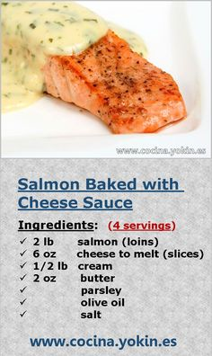 SALMON BAKED WITH CHEESE SAUCE - One way to prepare salmon that keeps it juicy. The cheese sauce brings softness on the palate and counterpoint of color. Easy preparation.