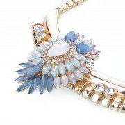 NECKLACE FLOWER DROP - gold/blue pastels