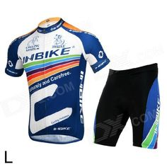 INBIKE lA256 Cycling Polyester + Nylon + Lycra Jersey + Shorts for Men - Black + White + Blue (L) - Free Shipping - DealExtreme