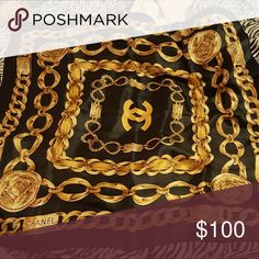 Chanel silk scarf Black and gold CHANEL Accessories Scarves & Wraps