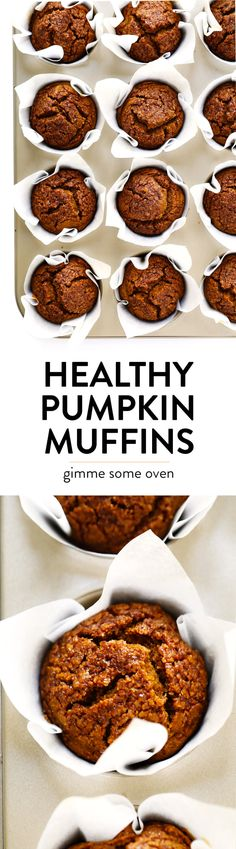 LOVE this healthy pumpkin muffins recipe! Theyre naturally gluten-free naturally sweetened with maple syrup easy to make and SO delicious. Perfect for fall breakfast dessert and snacking. Healthy Muffins, Healthy Sweets, Healthy Baking, Healthy Recipes, Eat Healthy, Healthy Drinks, Healthy Brunch, Dessert Healthy, Healthy Protein