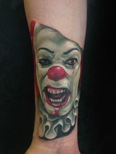 Portrait of pennywise I tattooed around a year ago