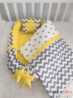 Modastra Babynest Sarı-Gri Zigzag Ve Yıldız Desenli Babynest Seti