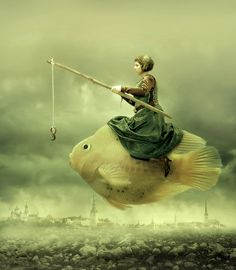 ♂ Dream / Imagination / Surrealism Magnificently Surreal Aquatic Adventures - Irene A surreal digital art lady ride a fish in sky go fishing Surrealism Photography, Art Photography, Creative Photography, Surrealism Art, Photography Editing, Photography Tutorials, Digital Photography, Photoshop, Kunst Online