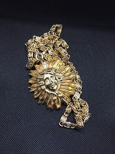 """AR Paris Gold Tone """"Medusa"""" Necklace With 18 Inch Chain  