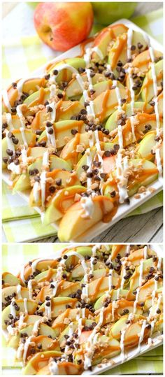 Caramel Apple Nachos - a quick, simple and delicious treat that the whole family will enjoy! {}