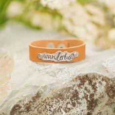 Wanderlust Bracelet/ Inspirational Jewelry/ Travel Jewelry/ Inspirational Leather Cuff/ Festival Jewelry/ Boho Bracelet