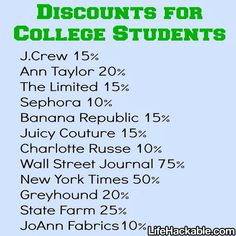Good to know, student discounts - grad school will come in handy! College Life Hacks, College Years, School Hacks, College Tips, Dorm Life, School Tips, College Dorms, College Student Discounts, Planning School