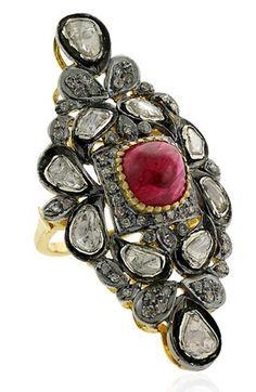 a1cd159de 4.04ct POLKI ROSE CUT DIAMOND RUBY VICTORIAN LOOK 925 SILVER COCKTAIL RING  #artdeco_estate_jewels Diamond