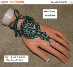 Pretty rose slave bracelet ring that would show off any hand.  These can also be worn as floral barefoot sandals.  Flower anklet toe foot jewelry that is sure to please.  C... #handmade #bracelets #trending