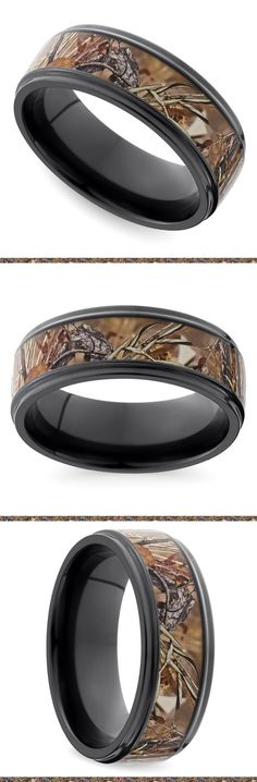 A Kings Field camouflage pattern inlay features grooved edges on a flat 8 mm zirconium band. Proudly made in the USA and comfort fit.