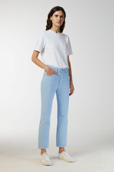 230003-365O - Fitted Overdyed Jeans. Classic five-pocket jeans with straight and slightly cropped legs, sewn from an organic cotton denim twill. Overdyed denim is dyed repeatedly to produce an overtone of colour in the fabric, and fades beautifully over time. #ARKET
