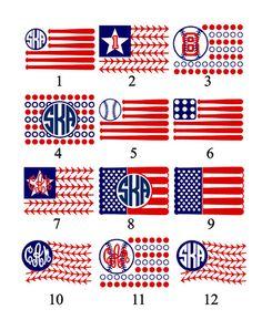 American Flag Baseball Bat Monogram T-Shirt by VinylDezignz
