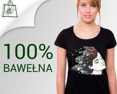 Koszulka damska T-shirt czarny z AKWARELĄ dtg XL