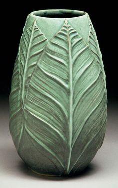 richard vincent pottery slip design brush on leaf pattern pottery ceramics clay