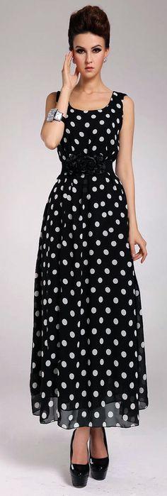 Fashion O Neck Polka Dots Sleeveless Chiffon Ankle Length Dress - Black