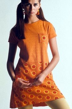 Regine Jaffry in orange T-shirt dress, photo by David McCabe, 1967
