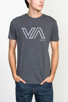 The RVCA Stencil VA is a slim fit tee with a front screen print and screened inside neck.