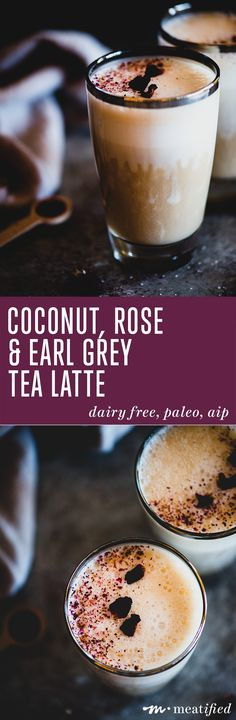 A cozy cup of rose-scented Earl Grey, whipped into a tea latte that's equal parts creamy and comforting. A perfect winter drink from http://meatified.com that's vegan, aip & paleo..