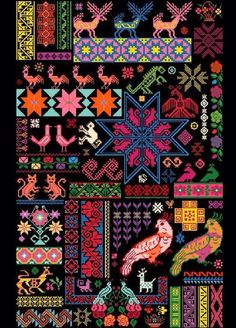 Mexican Sampler Chart put together using traditional Mexican textile patterns Cross stitch inspiration. Mexican Sampler Chart put together using traditional Mexican textile patterns Textile Patterns, Textile Art, Embroidery Patterns, Cross Stitching, Cross Stitch Embroidery, Cross Stitch Patterns, Mexican Pattern, Mexican Textiles, Mexican Embroidery