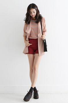 korean fashion - red striped top, red shorts, pink coat, black shoulder bag and black platform oxfords