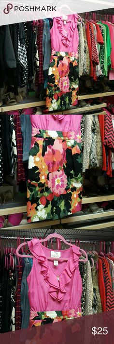 Tabitha from Anthropologie size 0 dress Pink zipper top, floral skirt with pockets. Dress from Anthropologie. From a smoke-free and cat-free home. Anthropologie Dresses Mini