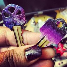 galaxy & ombre DIY house keys