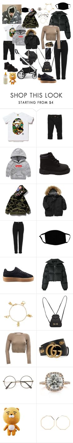 """""""Untitled #18"""" by vandasofiaf ❤ liked on Polyvore featuring A BATHING APE, Gosh, Timberland, Gap, Topshop, Puma, MISBHV, Anyallerie, Gucci and Mark Broumand"""