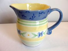 "Pfaltzgraff SUMMER BREEZE Creamer 4.75"" Blue Yellow Green #Pfaltzgraff"