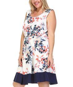 Look at this #zulilyfind! White & Navy Floral A-Line Dress - Plus #zulilyfinds