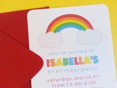 Rainbow Birthday Party Invitations  SET OF 12 by LittleMavens, $23.40