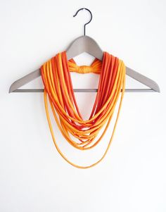 Fabric orange necklace neck ornament loop scarf round scarf Netherlands on Etsy, $20.00